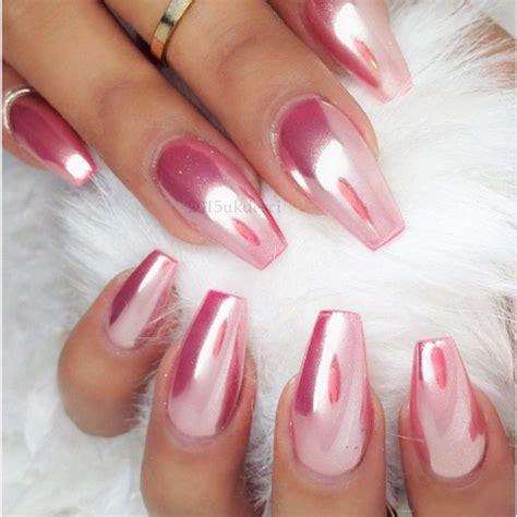 Rose gold mirror powder chrome effect nail silver pink purple powder gel polish ebay