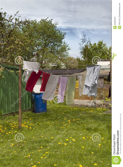 Cottage Clothesline clothesline in a cottage garden royalty free stock