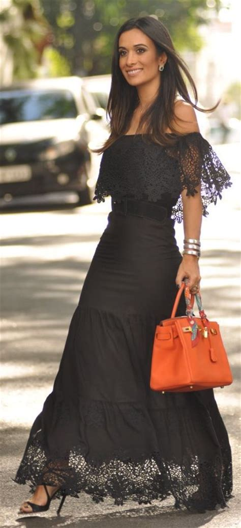chic spanish casual clothes for women for life and style black laces the shoulder and maxi dresses on pinterest