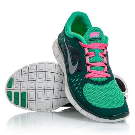 nike free run 3 womens running shoes green pink white