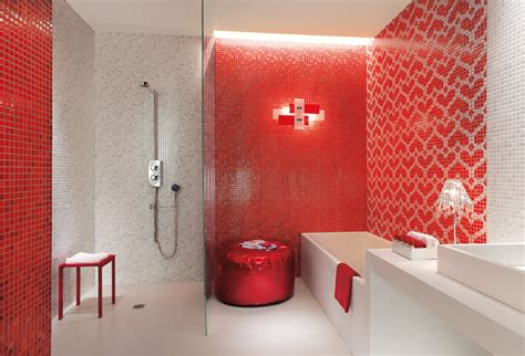 red and white tiles for bathroom red white heart mosaic tiles bathroom interior design ideas