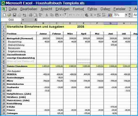 Tabellen Vorlagen Muster 9 haushaltsbuch excel vorlage rechnungsvorlage