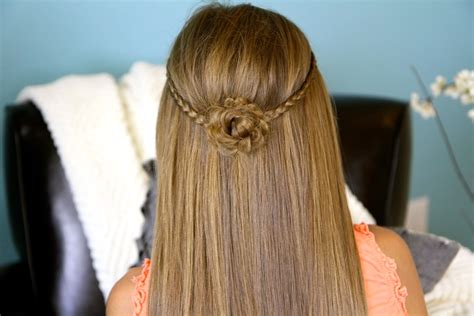 cute hairstyles plaits braided flower tieback hairstyles for long hair cute