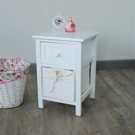 white 1 drawer wicker basket unit