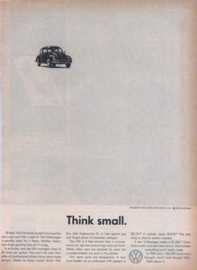 volkswagen think small think small vw ads pinterest