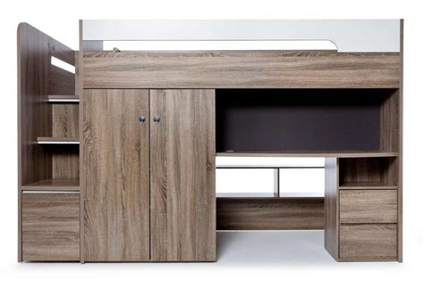 quantum loft bed desk mocha oak bedroom furniture forty winks