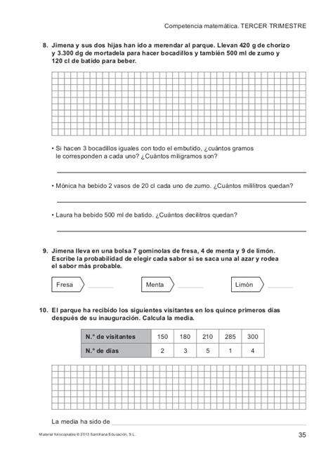 savia matemticas 5 educacin evaluaciones santillana 5 186 primaria matem 225 ticas