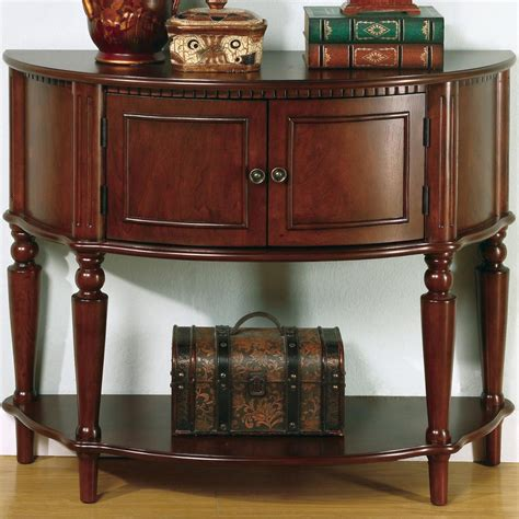 Entry Table Furniture Coaster Accent Tables 950059 Brown Entry Table With Curved Front Inlay Shelf Sol