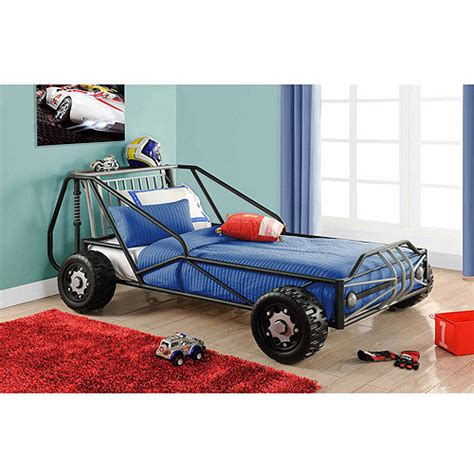 twin car beds deluxe twin racer car bed silver black walmart com