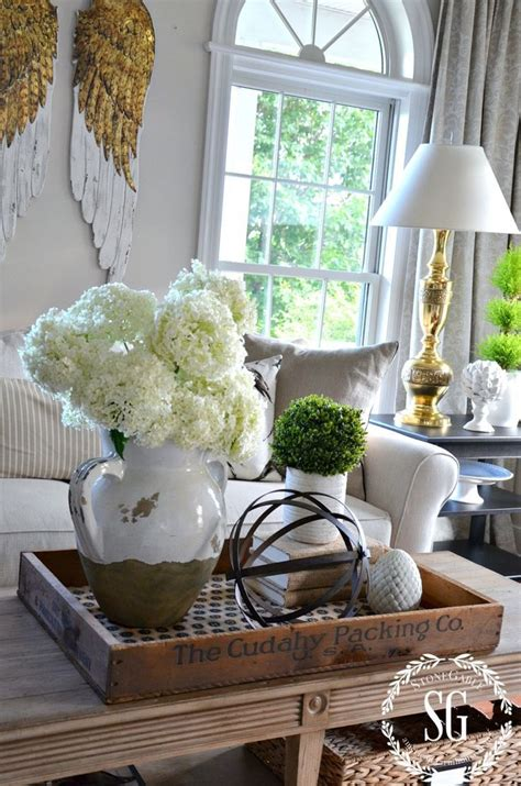 coffee table flower decorations bhome summer open house tour trays coffee and living rooms