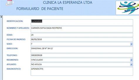 formulario 2010 who auditoria informatica formulario de paciente