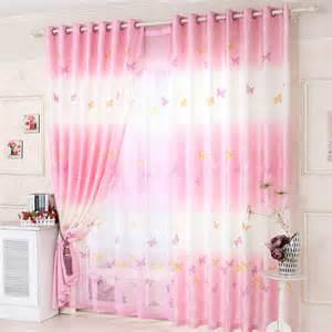 Girls Pink Blackout Curtains Colorful Vives Rideaux De Papillon Rose En Polyester Pour