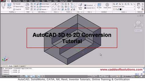 autocad tutorial with commands autocad 3d to 2d conversion tutorial flatshot command