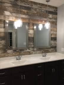 master bath double vanity sink barn wood accent wall