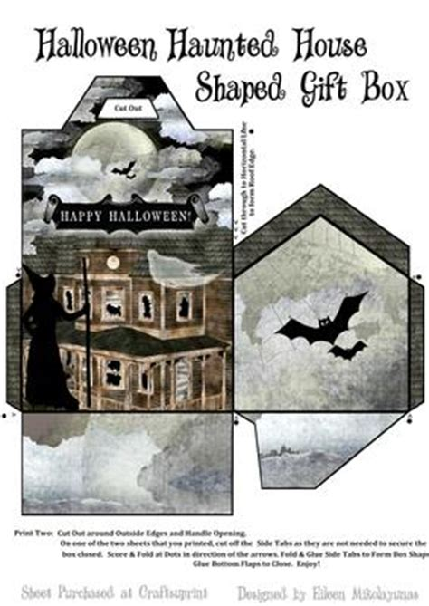 printable house shaped box halloween haunted house shaped gift box cup359210 503