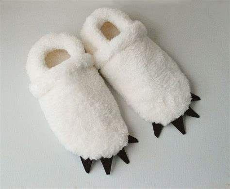 yeti slippers yeti slippers sized ivory with black claws by
