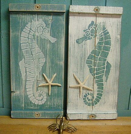 beach house wall decor seahorse sign wall art wood wooden beach house decor one small panel make a