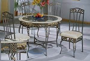 Wrought Iron Kitchen Table Sets 5pc Wrought Iron Antique Silver Dining Room Table Chairs Set Home Kitchen