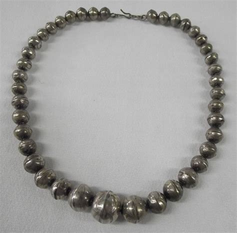 graduated silver bead necklace navajo pawn graduated silver bead necklace