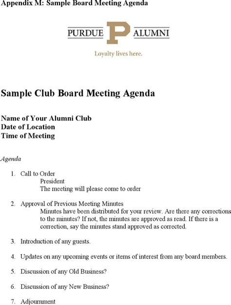 club meeting agenda templates download free premium