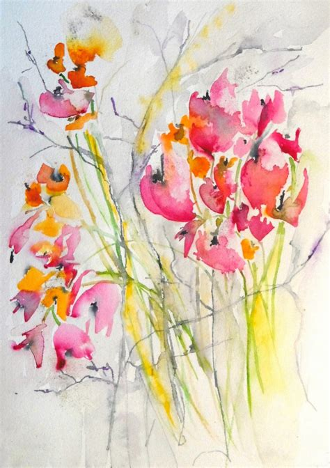 watercolor tattoo wildflowers karin johannesson contemporary watercolour flowers