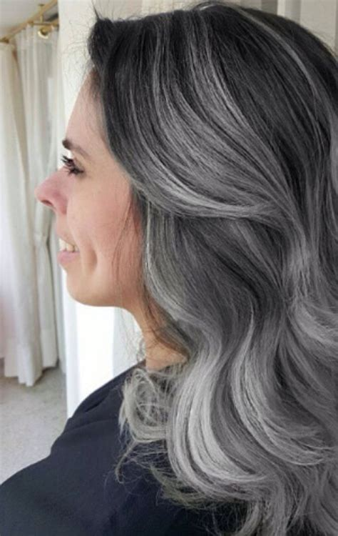 pictures of dark brown hair with gray highlights grey granny balayage hair with dark roots and silver