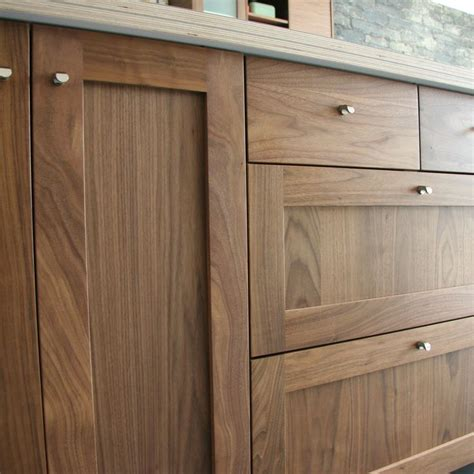 Walnut Shaker Kitchen Cabinets | detail shot of semihandmade walnut shaker ikea kitchen