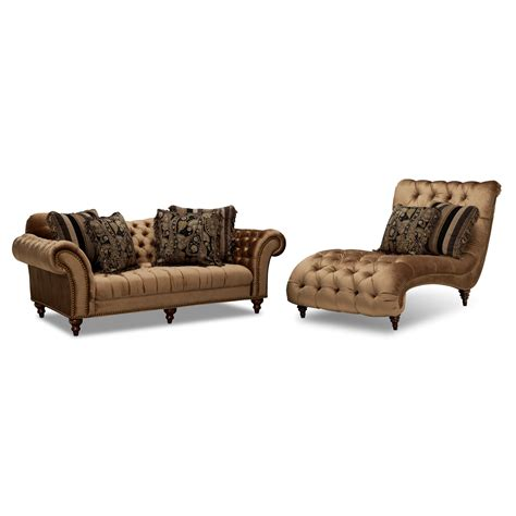 american signature chaise bronze upholstery 2 pc living room w chaise american signature furniture