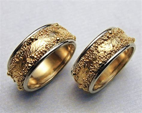 Handcrafted Wedding Bands - handcrafted wedding rings with spherical granulation and