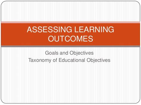 Mba Program Learning Outcomes by Assessing Learning Outcomes Objectives