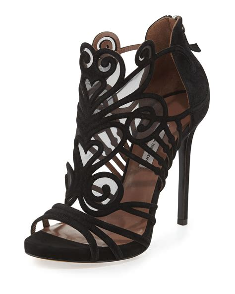 simmons sandals simmons suede mesh filigree sandal in black lyst