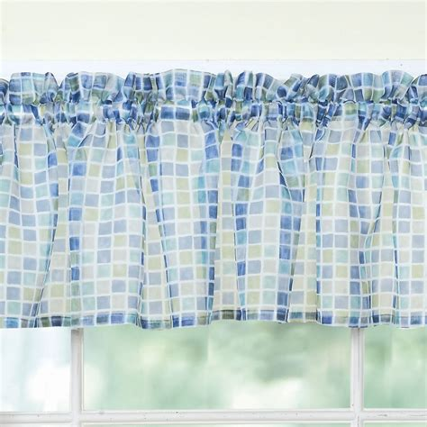 tiles block print blue green sheer voile kitchen curtains