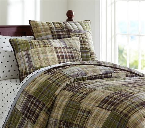 madras quilt green brown pottery barn
