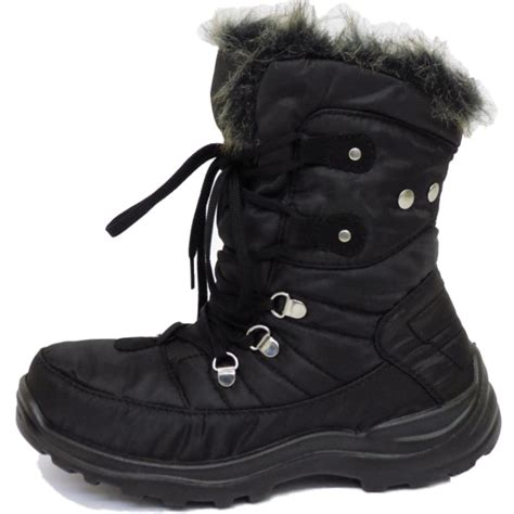 Flat Boots Lky 503 1 womens warm lace up black winter snow ski ankle boots