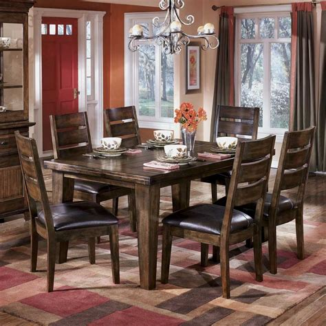 ashley dining room table signature design by ashley larchmont rectangular dining table and 6 side chairs del sol