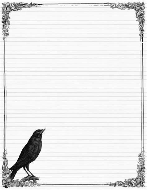 printable stationery paper black and white sweetly scrapped free stationary with crows and roses