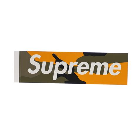 supreme logo supreme camo box logo sticker yellow camo