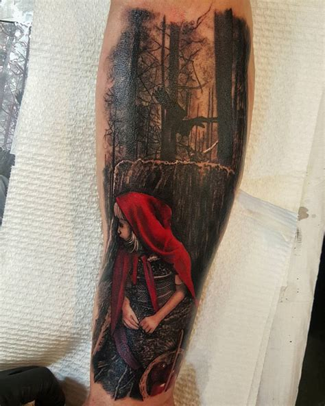 red riding hood tattoo hiding in the woods best