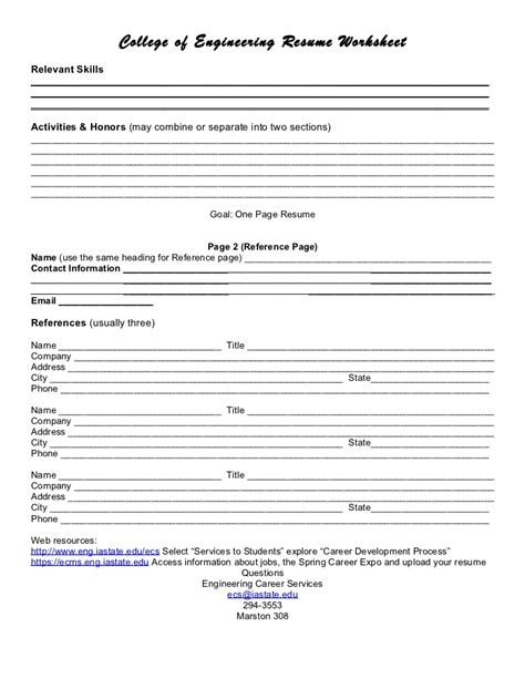 Resume Worksheet by Resume Worksheet