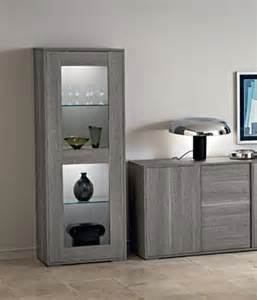 marino collection modern 1 door display cabinet in grey