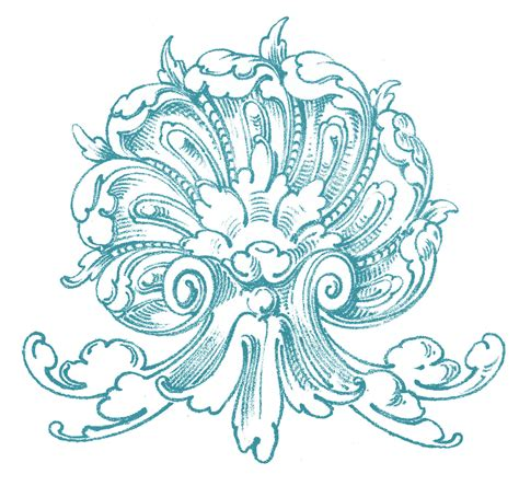 antique design vintage ornamental clip art shell with scrolls the graphics fairy