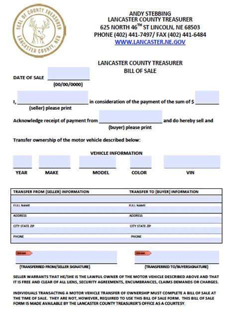 boat bill of sale nebraska free lancaster county nebraska vehicle bill of sale form