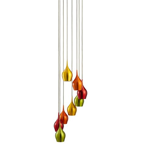 searchlight 6468 8 vibrant 8 light pendant with coloured