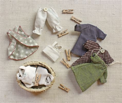 Handmade Doll Pattern - tiny rag doll and wardrobe pattern wood handmade