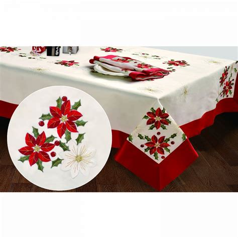 creative home ideas embroidered holiday poinsettia 70 x