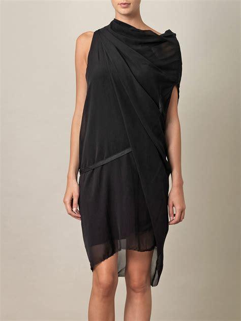 silk drape dress helmut lang pebble silk drape dress in black lyst