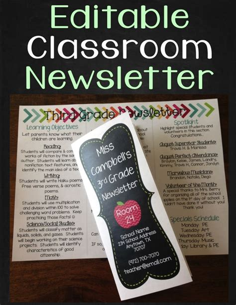 editable newsletter templates best 25 classroom newsletter template ideas on