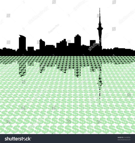 Auckland Skyline Outline by Auckland Skyline With Dollar Symbols Illustration 21678703