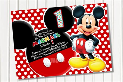 mickey mouse birthday invitation template mickey mouse invitation template free studio design
