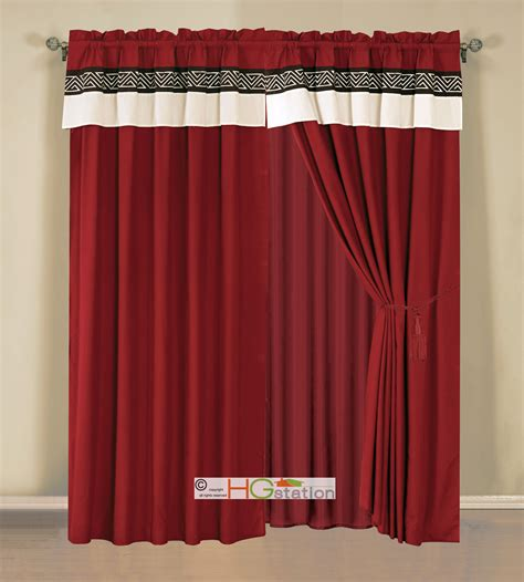 click 4 curtains 4 pc embroidery triangle meander greek key curtain set